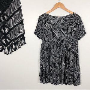 Free People Gray Printed Babydoll Swing Dress